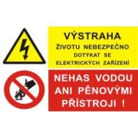 Výstraha životu nebezpečno dotýkat se elektrických zařízení - nehas vodou ani pěnovými přístrojii!