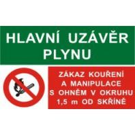Hlavní uzávěr plynu - Zákaz kouření a manipulace...