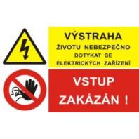 Výstraha životu nebezpečno dotýkat se elektrických zařízení - vstup zakázán!