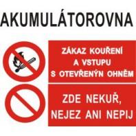 Akumulátorovna - Zákaz kouření... - Zde nekuř, nejez ani nepij