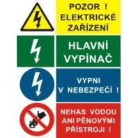 Pozor el. zařízení - Hl. vypínač - Vypni v nebezpečí - Nehas vodou...